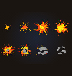 top view flash explosion effect bomb vector image