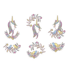 Unicorn rainbow pattern vector
