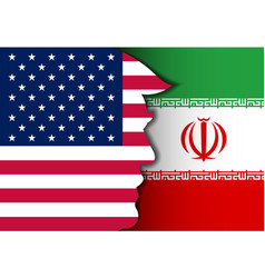 United state and iran flag background vector