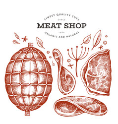 vintage meat hand drawn ham ham slices spices vector image