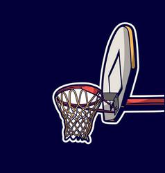 Vintage retro basketball hoop vector