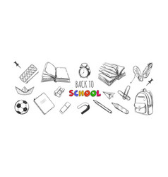 Welcome back to school collection hand vector