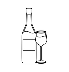 Wine bottle and wineglass line icon on white vector