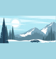 Winter mountain background vector