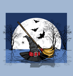 wizard hat and broom halloween concept vector image