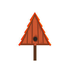 Wooden bird house of triangular shape nesting box vector