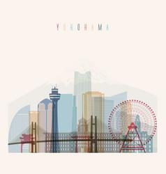 Yokohama skyline detailed silhouette vector