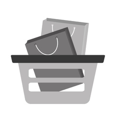 basket shopping bag gift gray color vector image