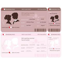 boarding pass ticket wedding invitation template vector image