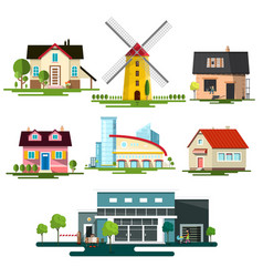 flat design buildings family house windmill and vector image vector image