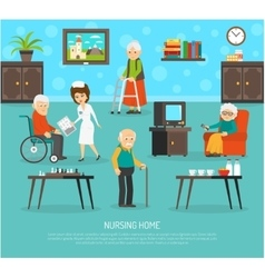 Old people nursing home flat poster vector