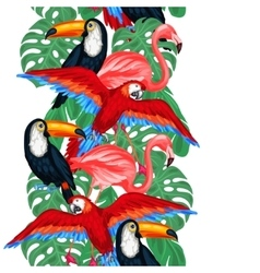 Tropical birds seamless pattern with palm leaves vector image