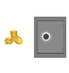 Bank safe with coins vector image