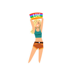 happy young woman holding rainbow flag over her vector image vector image