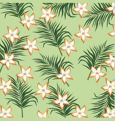 plumeria flower tropical leaves seamless pattern vector image vector image