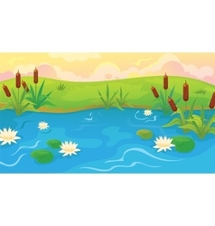 Pond With Reeds And Lilies vector image