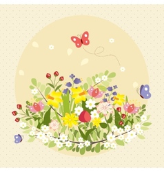 Spring Butterflies Flowers Art Colorful Vintage vector image vector image