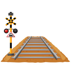 train track and light signal pole vector image vector image