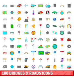100 bridges and roads icons set cartoon style vector image