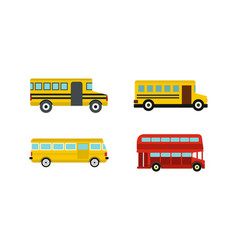 bus icon set flat style vector image vector image