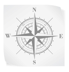 Compass rose over white paper sticker isolated on vector image vector image
