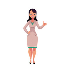 female woman doctor in medical coat showing thumb vector image vector image