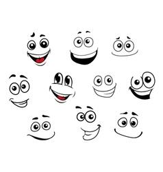 Funny cartoon emotional faces set vector image vector image