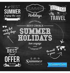 Summer design on chalkboard background Set of vector image vector image