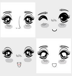 anime nice woman faces expressions vector image