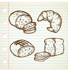 bread doodle set vector image vector image