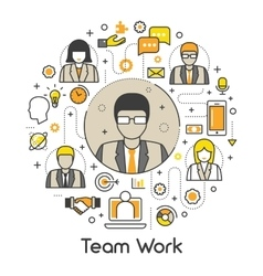 Business Team Work Line Art Thin Icons Set vector image vector image