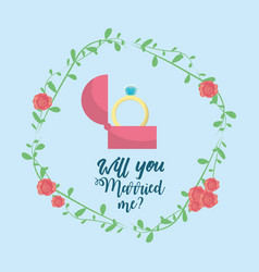just married with ring and branch decoration vector image vector image