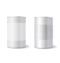 metal tin can tincan ribbed canned food mock up vector image