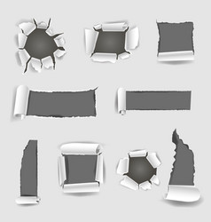 paper sheet with grey torn holes vector image