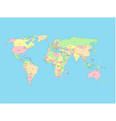 World map with names of sovereign countries and vector