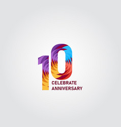 10 year anniversary elegant rainbow template vector