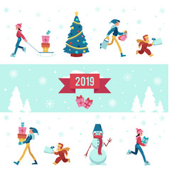 2019 winter - banner with vector image