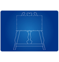 3d model of easel on a blue vector image