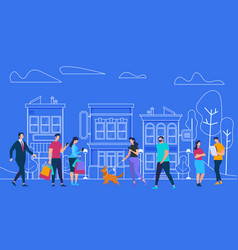 Active people lifestyle city view and houses vector