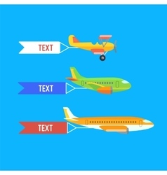 Aeroplane planes and biplane Set of colorful vector
