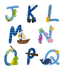 alphabet nautical from j to q vector image