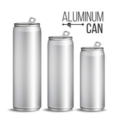 aluminium cans silver can branding design vector image