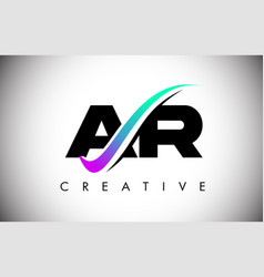 Ar letter logo with creative swoosh curved line vector