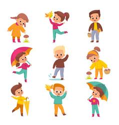 Autumn kids happy children in offseason clothing vector