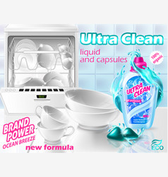 banner with liquid cleaner for dishwasher vector image