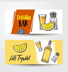 Banners with tequila bottle shot lemon salt vector
