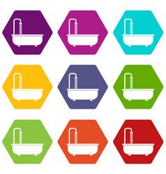 bathroom icon set color hexahedron vector image