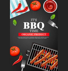 bbq grill party realistic vertical menu vector image
