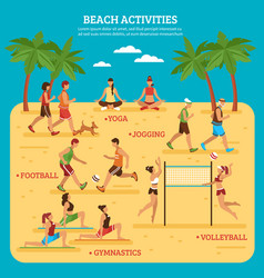 Beach activities infographics vector