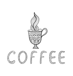 Black and white outline doodle Coffee cup vector image
